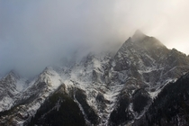 Ice fog enveloping the peaks of the Selkirks in British Columbia near Rogers Pass