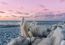 Ice formations on the shore of Lake Erie Sheffield Lake OH