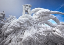Ice formations on trees and a watchtower on Mount Javornik Slovenia Photo by Marko Korosec  x-post rSloveniaPics