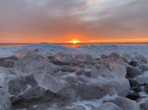 Ice gathers in winter on Lake Superior Michigan