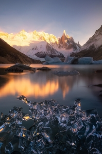 Ice ice baby Cerro Torre and icebergs during sunrise in Patagonia OC  rosssvhphoto