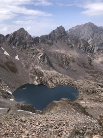 Ice Lake from the summit of UN  in a remote part of the Colorados Gore Range