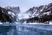 Ice Ripples at Dream Lake in Rocky Mountain National Park CO