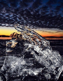 Ice shards at dusk on the shore of Lake Wisconsin X