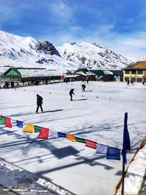 Ice skating rink at Kaza village of Spiti valley