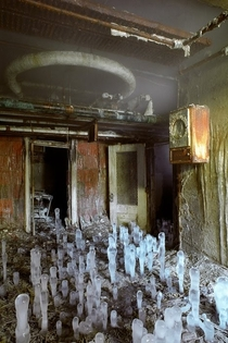 Ice stalagmites in the basement of Greystone Park State Hospital in New Jersey