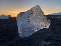 Iceberg washed up on the Diamond Beach in Iceland
