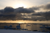 Icebergs and islands become nearly indistinguishable in evening light Antarctic Peninsula