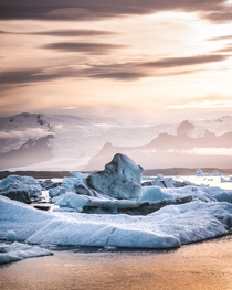 Icebergs at sunrise Jkulsrln Iceland