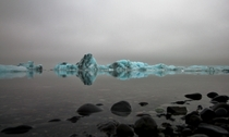 Icebergs in Iceland on a cloudy day