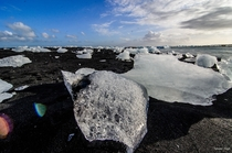 Icebergs on the beach at Jokusarlon Iceland