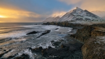 Iceland East Fjords Coastline just after a heavy snow storm starts to clear By Shaun Young