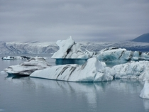 Iceland glacier and icebergs with black stripes from volcano eruptions