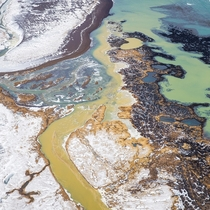 Iceland in winter is surprisingly colourful from above