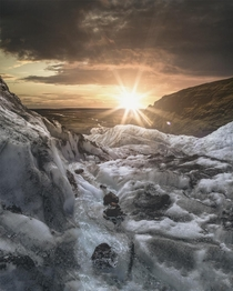 Iceland Sunset on a glacier in summer
