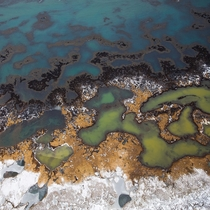 Icelands colourful winter coastline from above