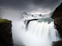 Icelands Gullfoss Golden Falls as it plunges in steps to the canyon below The mighty flow is located on the Hvt River which in turn is fed by Icelands second biggest glacier the Lngjkull Andrea Centon