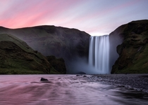 Icelands midnight sunlight over Skgafoss