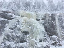 Icy sheets Smugglers Notch VT