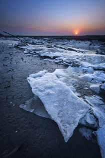 Icy structures on the shore of a tidal flat near Rilland the Netherlands