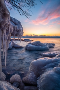 Icy Sunrise from the Shores of Lake Michigan in Milwaukee WI