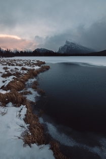 Icy sunset at Vermilion Lakes Alberta