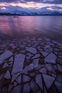 Icy Sunset in South Lake Tahoe CA