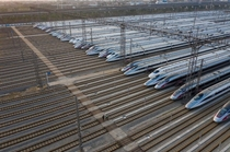 Idled trains at Wuhan railyard due to COVID outbreak