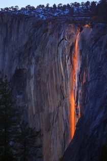 If Horsetail Fall is flowing in February and the weather conditions are just right the setting sun illuminates the waterfall making it glow orange and red