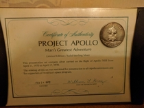 If not appropriate mods please remove This medal given to astronauts families and supporters of Americas space program The medal contains silver flown on Apollo  verified by Christies as genuine as there are fakes