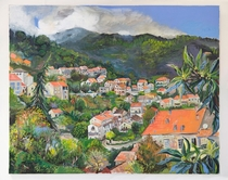 If you accept paintings heres a view of the town of Levie in south Corsica France
