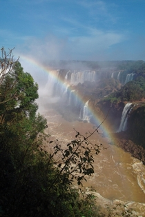 Iguassu Waterfalls Rainbow b - Looking from Brasil side Iguacu over to Argentina side Iguazu x