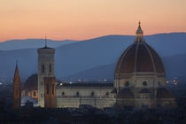 Il Duomo in Florence at sunset from piazzale Michelangelo
