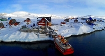 Ilimanaq Greenland  inhabitants MS Aviaq docked which can carry all inhabitants of the town