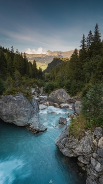 Ill never get tired of seeing the blue waters of Switzerland Bernese Oberland region Switzerland