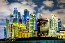 Illuminated Dubai Marina Skyline incl worlds tallest residential building The Princess Tower m