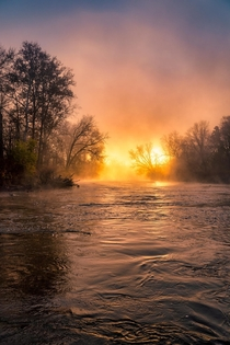 Im going to nip the jokes in the bud The river is not on fire again its just this mornings sunrise Cuyahoga Valley National Park OH