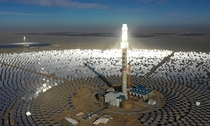 Im sure one of these amazing contraptions mustve been posted before  but if so heres one yet again a solar powerplant consisting of thousands of mirrors pointed at a central tower