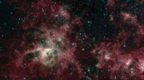 Image of the Tarantula Nebula in the Large Magellanic Cloud composed from infrared observation data gathered by the Spitzer Space Telescope commemorating the end of its mission RIP Spitzer