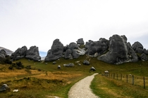 Imposing array of limestone boulders Castle Hill New Zealand