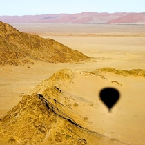 In a hot air balloon looking below the stunning landscape of Sossusvlei Namibia  x