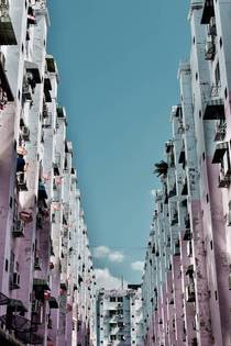 In a working class neighbourhood of Bangkok Thailand people keep their buildings cheerful