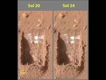 In  Phoenix Mars lander confirmed the presence of frozen water lurking below the Martian permafrost Evidence of ice in Mars north pole region has been largely circumstantial before  chunks of bright material on the shadowed area seen on Sol  had vaporized