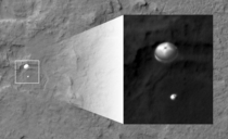 In response to the picture of Curiosity from the MRO This is of the landing sequence and was even harder to image