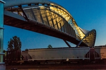 In Seattle the Helix Pedestrian Bridge crosses eleven railroad tracks