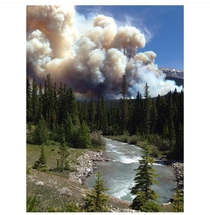 In the summer of  a massive wildfire took over Banff National Park I live in the park and was evacuated during the fire I took this photo five minutes from home