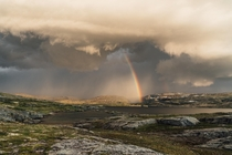 Incoming storm during a fishing trip in the high mountains Veivatnet Hardangervidda Norway