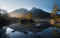 Incredible calm sunrise at the Hintersee near Berchtesgaden southern Germany