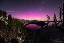 Incredible pink aurora over Crater Lake OR with bonus International Space Space Station contrail