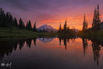 Incredible sunset at Mount Rainier   X